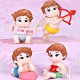 Miniature Cupids Figurines I Love You Landscape Ornaments Mini Fairy Garden Bonsai Dollhouse Decorations 4PCS