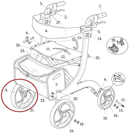Front Wheel with Bearings Max 51% wholesale OFF for Walk Drive RTL10266 Nitro Rollator