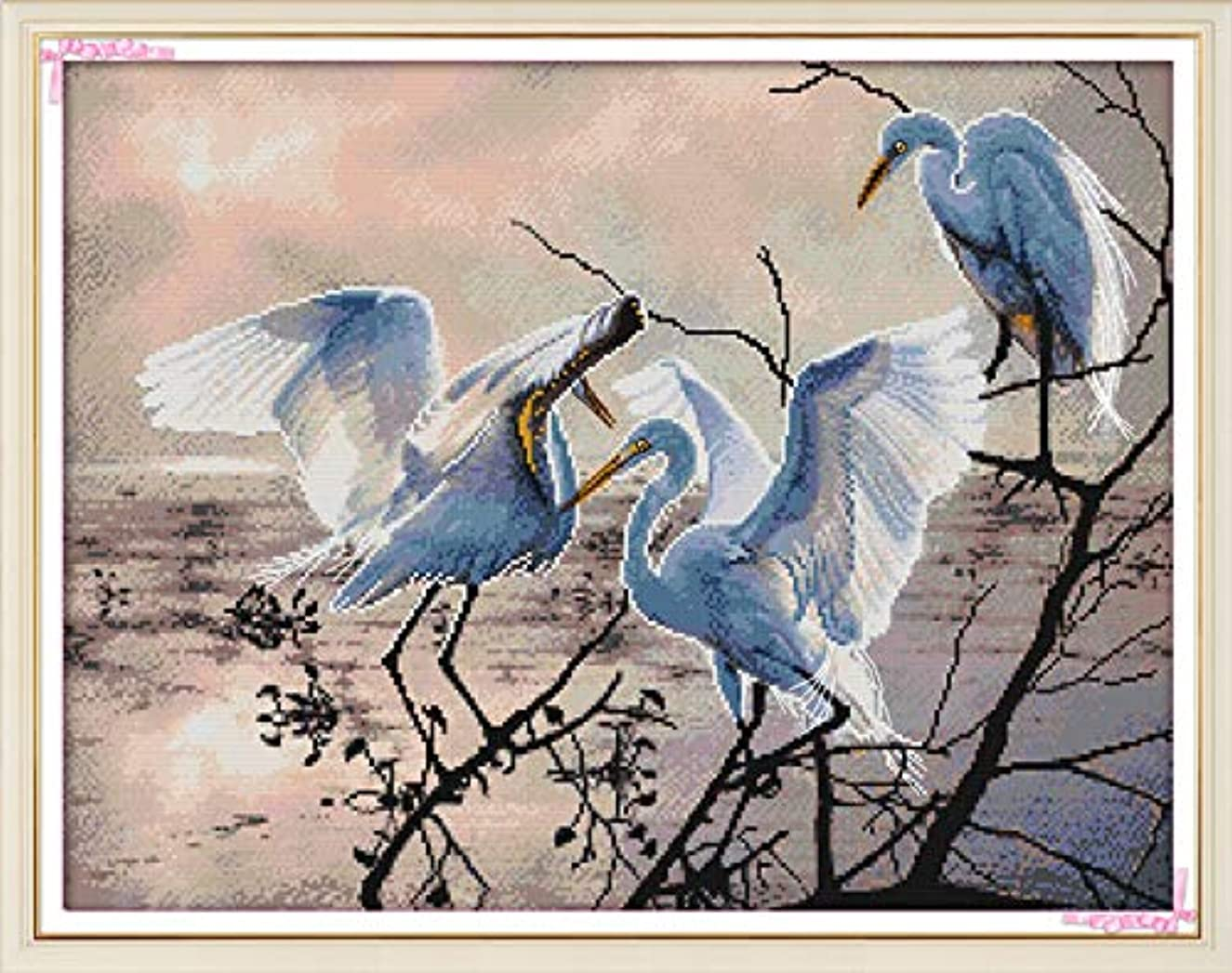 Joy Sunday Cross Stitch Kit 14CT Stamped Embroidery Kits Precise Printed Needlework - Three Egrets 58×46CM
