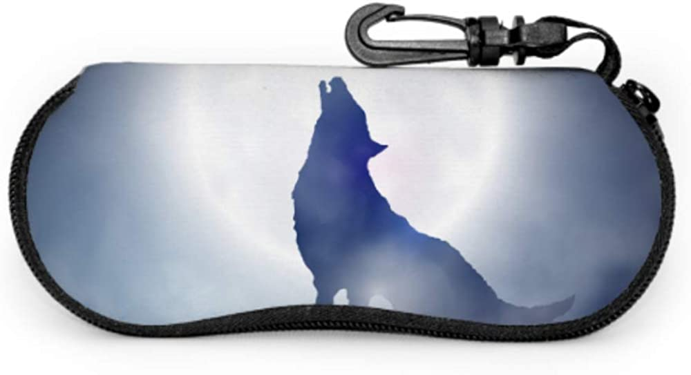 Creepy Wolf Howling At Midnight Full Moon Printed Eyeglass Case Sunglasses Pouch Soft Light Portable Neoprene Zipper Soft Case Protective Glasses Case