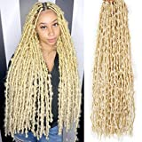 Long Butterfly Locs Crochet Hair 6 Pack 24 Inch Soft Distressed Locs Hair Pre Looped Crochet Braids For Black Women Synthetic Hair Blonde Color 72 Strands (24 Inch-6 packs, 613# Butterfly Locs Hair)