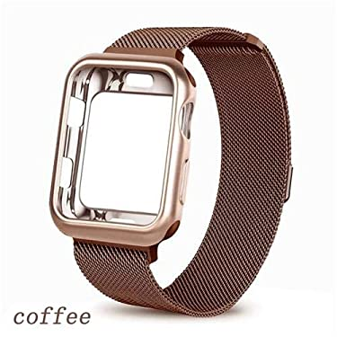 Case + Milanese Loop Band for Apple Watch 44mm 40mm 38mm 42mm Bracelet Stainless Steel Strap for iwatch Series 5/4/3/2/1 Cover undefined -coffee-40mm