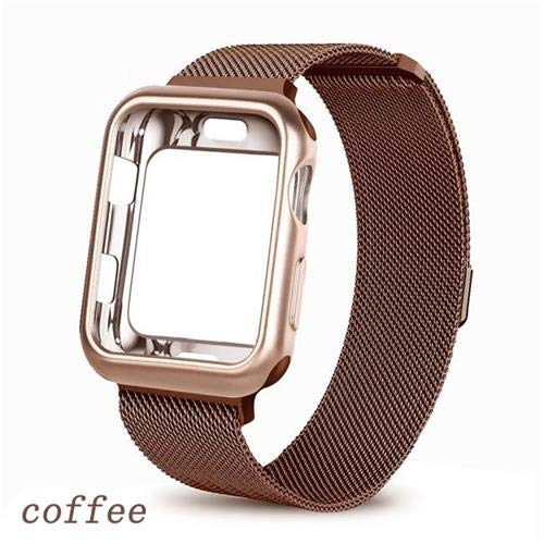 NO BRANDED Case+Strap For 5 Band 44mm 40mm Iwatch Band 42mm 38mm Milanese Loop Bracelet Apple Watch Series 3 4 2 38 40 42 44 Mm Coffee
