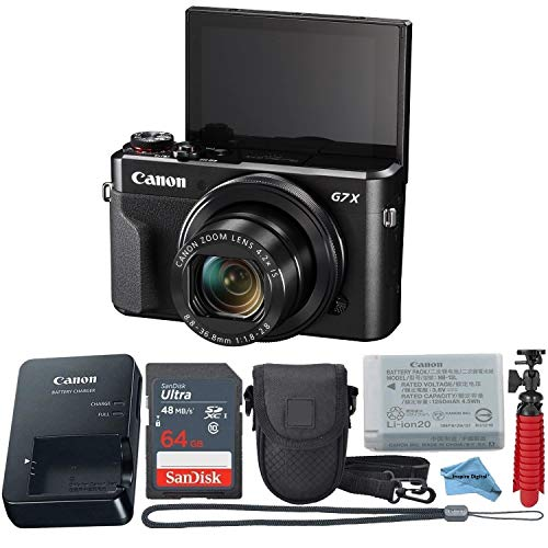 Canon Powershot G7X Mark II Point & Shoot Digital Camera + Accessory Bundle + Inspire Digital Cloth