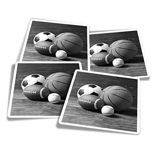 Pegatinas de vinilo (juego de 4) 10 cm – BW – Deportes de fútbol americano baloncesto divertidos calcomanías para portátiles, tabletas, equipaje, reserva de chatarra #36599