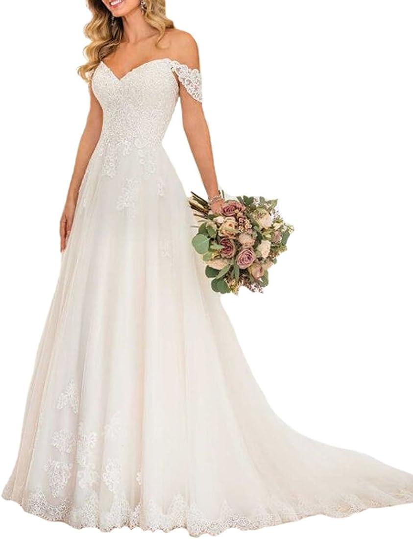 Amazon.com Lilyla Women's Off The Shoulder Wedding Gowns A Line ...