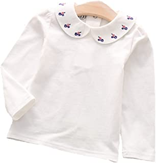 f2f352ba Dastan Little Girls Top and White School Uniforms with Pretty Floral  Embroidered Collar Blouses Long Sleeve