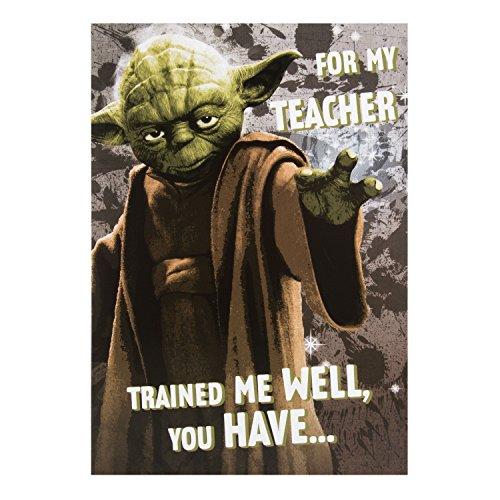 """Hallmark Dankeskarte für Lehrer Star Wars """"Yoda""""–mittelgroß"""