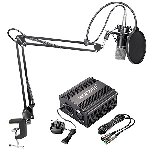 Neewer NW-700 Condenser Microphone Kit - Black Mic, Black 48V Phantom Power...