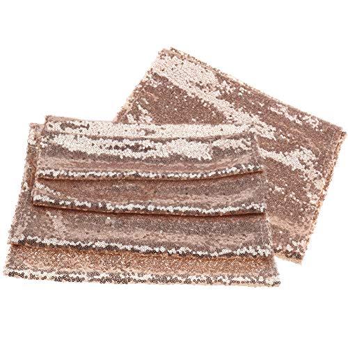 OTOTEC 2 x pailletten tafelloper, roségoud, rechthoek, parkly glitter, tafelkleed, runners, banket, bruiloftfeestdecoratie, 30 x 180 cm