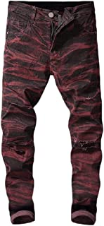 Macondoo Mens Juniors Jean Camouflage Denim Plus Size Trousers Pants