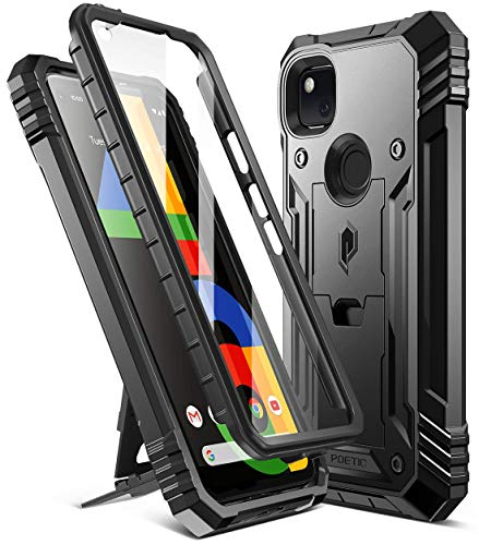 Poetic Revolution Series for Google Pixel 4a 5.8 inch (2020) Case, Full-Body Rugged Dual-Layer Shockproof Protective Cover with Kickstand and Built-in-Screen Protector, Black