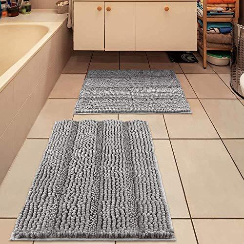 IM Home Badezimmerteppich-Set, ultraweich, hellgrau, 2-teilig, rutschfeste Chenille-Badezimmerteppiche, saugfähige Plüsch-Badematten für Badezimmer, Schlafzimmer, WC (50,8 x 81,3 cm/43,2 x 61 cm)