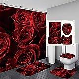 Hankyky Moderne 4Pcs Duschvorhänge Set Rose Dusche Vorhang Set wasserdichte Stoff Bad Vorhang Set mit Haken für Valentinstag Badezimmer
