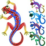 Zhanmai Metal Gecko Wall Decor 12 Inch Metal Lizard Outdoor Wall Decorations for Yard, Fence, Garden, Home, Outdoor Wall, Set of 5 Pieces, Easter Supplies for Kids