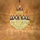Zenghh Lampadario imperiale originale Crown Chandelier Chic Crystal Mosaico perline Lightshades Sparkle Glitter Nappa per soggiorno Camera da letto Grand King Re Queen Golden Crown Pestin Pendente a s