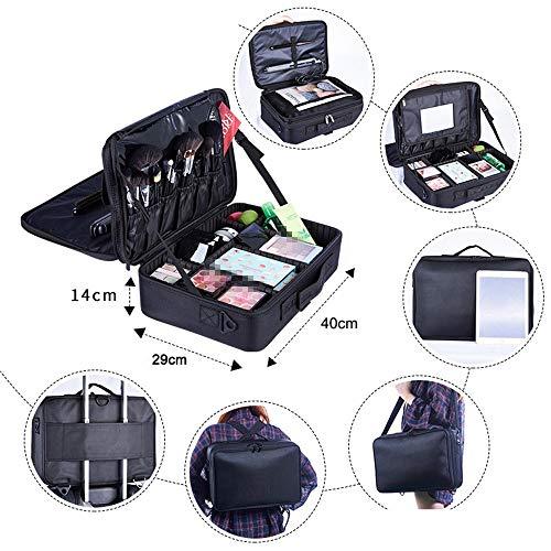 Belingeya-bag Reise-Make-up-Tasche Tragbare Reise-Make-up-Kosmetiktasche Kosmetikbeutel Kulturbeutel für jugendlich Mädchen Frau Künstler für Reisebranche Haushalt (Farbe : Schwarz)