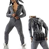 Men's Sexy Hoodie Pajamas Onesie Butt Flap Jumpsuit Long Sleeve Leotard One Piece Sleepwear Novelty Pjs for Adult (a-Dark Grey, S)