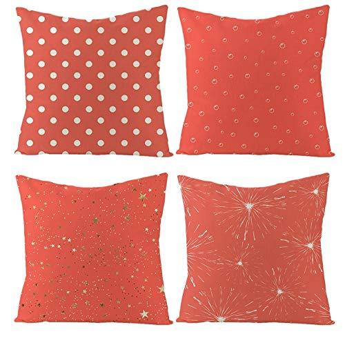 AtHomeShop - Set di 4 federe per cuscino, 50 x 50 cm, in lino con punto polka, gocce d'acqua, stella, fuochi d'artificio, comodo, quadrato, per divano, camera da letto, decorazione – rosso, set 9