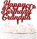 Decoración de acrílico para tarta con número de cumpleaños y abuelo, 20 colores, color rojo oscuro
