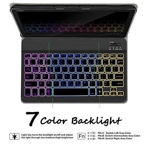 Hintergrundbeleuchtete Tastatur Hülle für Huawei MediaPad M5 Lite 10, [QWERTZ Deutsches], Ständer Schutzhülle mit magnetisch abnehmbar Tastatur für Huawei MediaPad M5 Lite 10.1 Zoll 2018, Oil - 3