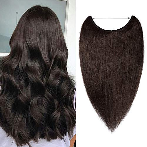 Silk-co 50cm Extension Capelli Veri Filo Invisibile Fascia Unica 100% Remy Human Hair Extension Filo Capelli Lisci - 2 Marrone Scuro