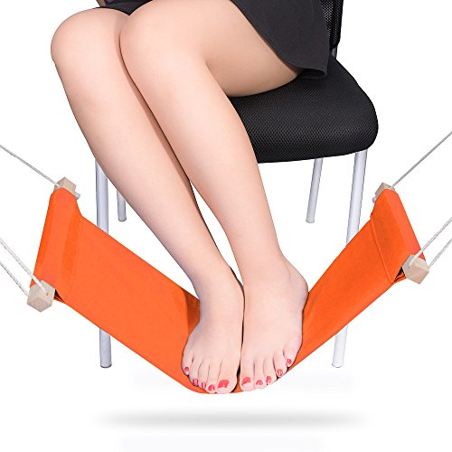Delxo Foot Rest, Adjustable Mini Foot Hammock, Portable Desk Foot Stool, Hammock Style Foot Rest For Home and Office Foot Rest Stands Replace Footstools-Orange