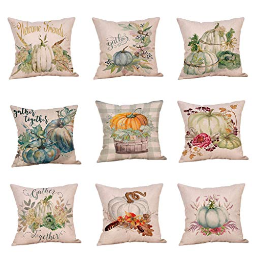 Autumn Decorations Pumpkin Pillow Covers,Halloween Pillow Covers 18x18 Thanksgiving Throw Pillow Covers Cushion Cover, Holiday Rustic Linen Pillow Case for Sofa Couch Halloween Decorations (I)