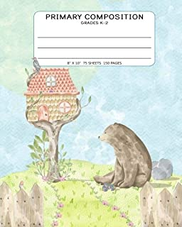 Primary Composition Grades K-2: Notebook With Story Space and Dotted Mid Line: 8x10 - 150 Pages - Cute Bear Bunny Birds Nature Scene Journal For Kids
