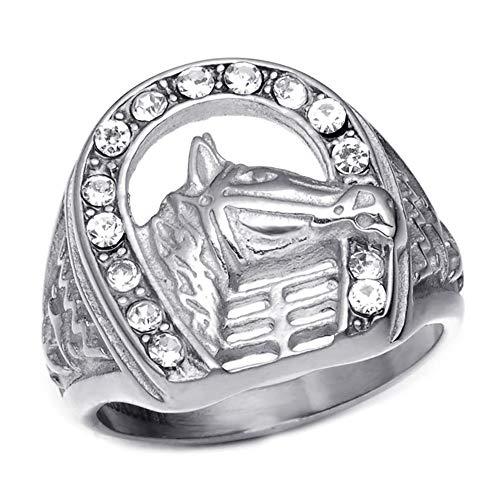 BOBIJOO JEWELRY - Anello con Sigillo a Ferro di Cavallo Camargue Gypsy Elvis Acciaio 316L Diamanti Strass Argento - 14 (7 US), Acciaio Inossidabile 316