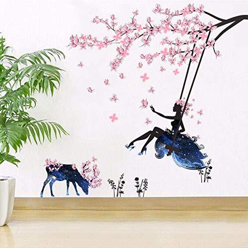 Flower Fairy Plum Tree Deer Dekorative Wandaufkleber Beauty Landscape Pink Plum Tree Blau Schaukel Girl Wallpaper Fashion Poster 90X60Cm