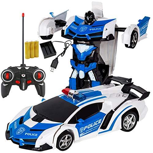 QiKun-Home Transformación del coche Robots Deportes Modelo de Vehículo Robots Juguetes Carga Inalámbrica Fresca Deformación Coche Con Batería Niños Juguetes Azul y Blanco