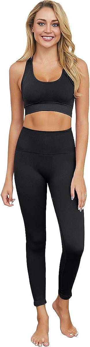 Workout hohe Taille athletische nahtlose Leggings und Sport-BH bbmee Yoga-Outfits f/ür Frauen 2-teiliges Set Set Gym Kleidung