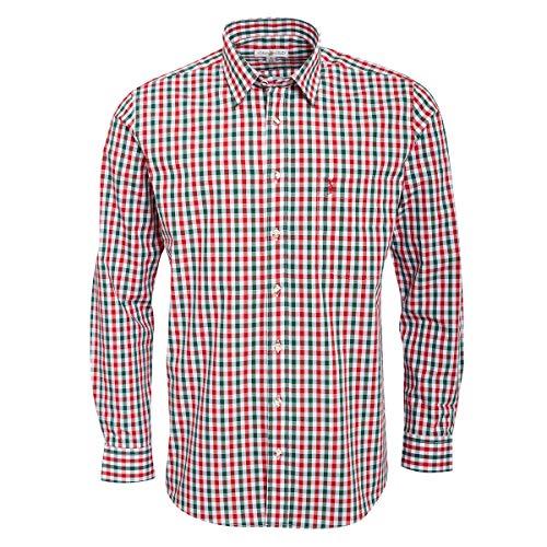 Almsach Herren Trachtenhemd Regular-Fit Trachten-Mode traditionell-kariert s-XXL viele Farben, Größe:XXL, Farbe-Zweifarbig:Rot/Tanne