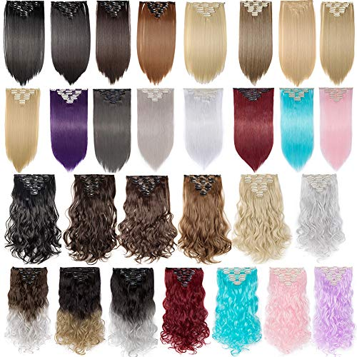 Clip in Hair Extensions 8 PCS 18 Clips 145G Thick Straight Curly Full Head Real Natural Synthetic Fibre Hairpiece 60 colors for Women Lady Girls(23 inch,dark black-straight)