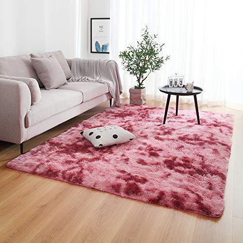 LUCHAO Multisize Dormitorio de absorción de Agua de alfombras Alfombras for la Sala Dormitorio Alfombra Lazo teñido Felpa Suave Alfombras Antideslizante Tapetes (Color : Dark Red, Talla : 140x200cm)