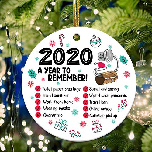 2020 Christmas Ornament 2020 3' Round Ceramic Xmas Ornament Christmas Decoration 2020 Keepsake Bauble Lockdown Quarantine Pandemic Coronavirus COVID Gift