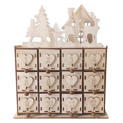 Moligh doll Weihnachten Kalender Box - Holz Adventskalender Aufbewahrung Box mit 12 Schubladen Ornament Kleinigkeiten Schmuck Schatulle für Weihnachten Dekoration