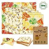 Emballage Cire d Abeille,6Pcs Emballage Alimentaire Réutilisable de Cire d'abeille,Biodégradables Respectueux De l'environnement Durable Enveloppements Alimentaires pour Fromage,Fruits,Légumes et Pain