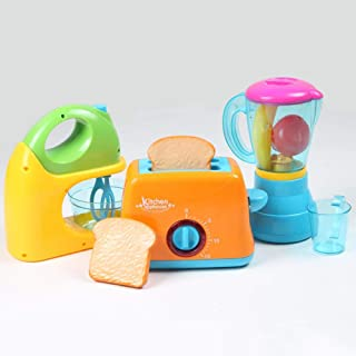 AMERTEER Kitchen Collection (Toaster, Mixer & Juicer) for Your Little Chef - Set of 3 Mini Simulation Musical Kitchen Toys...