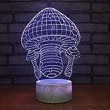 Seta colorida Lámpara 3D de ahorro de energía de la noche 3D Regalo creativo Luz de noche de carga USB