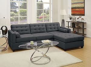 2-piece sectional sofa set with 2 roll pillows Wooden frame covered in soft linen-like polyfabric Designer carefully selected polyfabric for wear ability, seam strength, beauty and comfort U.S. patented reversible design allowing this sectional to be...