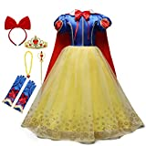 HIHCBF Girls Princess Snow White Costume Birthday Christmas Halloween Carnival Fancy Dress Up w/Cloak Headband Accessories 4-5T