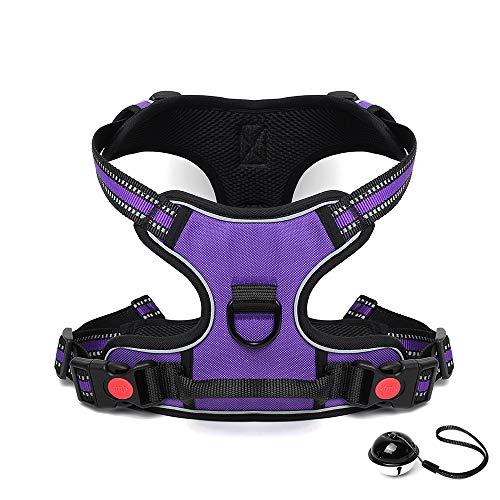 HAODIUSB88 Hundegeschirr No Pull Kleine Mittlere Hunde Brustgeschirr Dog Harness Atmungsaktiv Vest Geschirr Mesh Brustgeschirr für Hunde (Purple, XL(70-100cm))