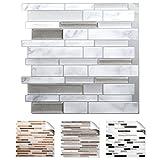 Grandora 4er Set 27 x 25,4 cm Fliesenaufkleber grau marmor Silber dunkelgrau metallic Design 4 I 3D Mosaik Küche Bad Fliesendekor Wandaufkleber Fliesensticker W5534 -