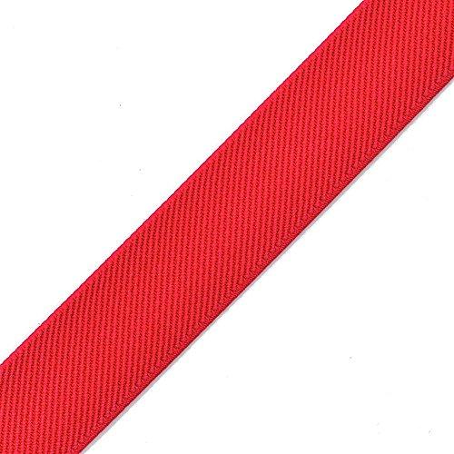4-Yards 1' (25mm) Twill Elastic Band Trim, Waistband Elastic, Elastic Trim, Elastic Ribbon, TR-11831 (Red)