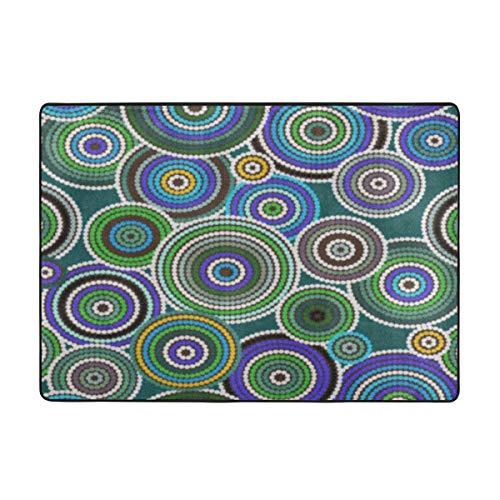 Raditional Bright Colorful Area Rug, Carpet 8460 in-Brown Australian Aboriginal Orange Pattern Australia Indigenous