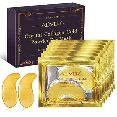 24K Gold Powder Gel Collagen Eye Mask, 10 Pairs Under Eye Mask, Anti-Aging Eye Patches, Moisturiser Eye Masks for Under Eye Wrinkles, Remove Eye Bags, Dark Circles from ALIVER