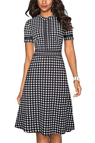 HOMEYEE - Abito vintage da donna, scollo rotondo, con maniche a 3/4, stile patchwork, per cocktail...