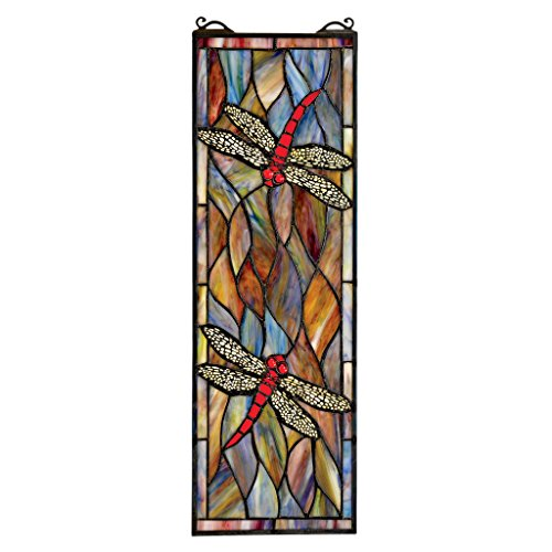 Design Toscano Tiffany Style Dragonfly Stained Glass Window Hanging Panel, 21 Inch, Smokey Blue
